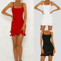 New Summer Womens Ruffle Frill Strappy Holiday Bodycon Beach Short Mini Dress HL