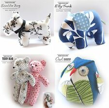 Beginners Sewing Patterns - Stuffed Animals -Plush Toys - Dog Teddy Elephant Fox