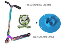 Team Dogz Pro X Rainbow Kids Stunt Scooter Neo Chrome Oil Slick+ Free Blue Stand