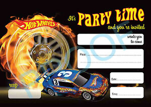 #54 HOT WHEELS Pack of 10 kids children birthday party INVITATIONS