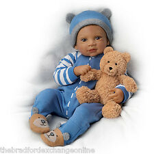 Waltraud Hanl Weighted and Poseable Baby Boy Doll with Plush Bear: Ashton Drake