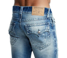 True Religion Men's Straight Flap Indigo Big T Jeans Size 33 x 34 NWT Rays Blue