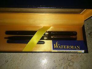 Waterman Black Lacque & Gold Fountain Pen Med Pt & Ballpoint Pen Set New In Box