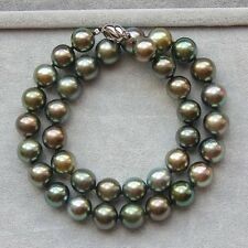 stunning 11-12mm round tahitian black green  pearl necklace 18inch 925s