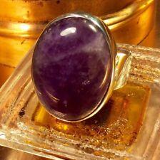 Genuine 925 Sterling Large Adjustable Amethyst Gemstone Ring Size 8/0