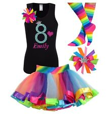 Bubblegum Divas Girls 8th Birthday Shirt Rainbow Party Outfit Personalized Set