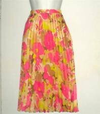 Ann Taylor LOFT Pink Flouncy Floral Sateen Accordion Pleated Skirt Lined 2 NWT