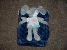 Hudson Baby Elephant Plush Toy Fleece Chevron Navy Blue Blanket Set Boys NWT HTF