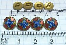 4 minuscules Boutons email laiton 9mm tiny buttons enamel knopf antique french