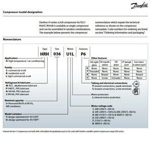 DANFOSS 3 TON AIR CONDITIONING SCROLL COMPRESSOR R22 - P/N HRM038U5LP6 120U0963