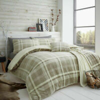 Luxury Lincoln Check Duvet Cover Single Double King Soft Warm Teddy Bedding Set