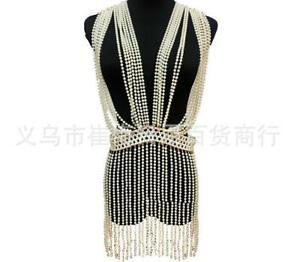 Necklace Harness Chest Body Chain Beach Bikini Imitation Pearl Tassel Jewelry