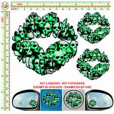 Adesivi labbra sticker bomb lips skull green stylized tuning helmet auto 3 pz
