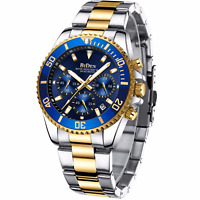 Mens Watch Chronograph Gold Silver Tone Steel Blue Dial Analog Quartz Business