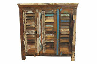 Reclaimed Sideboard Cupboard In Vintage Wood 3 Louvered Door Storage Cabinet