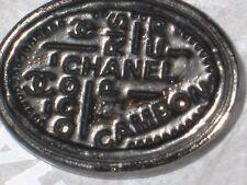 CHANEL PARIS CC LOGO DARK SILVER  AUTH METAL  BUTTON TAG 16 x 12 MM emblem NEW