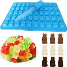 2pcs 50 Cavity Mini Silicone Gummy Bear Sweet Mould Chocolate and Dropper Blue