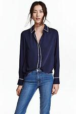 Z H&M DARK NAVY BLUE WHITE PIPING COLLAR CUFF BLOUSE SHIRT TOP 10 6 36