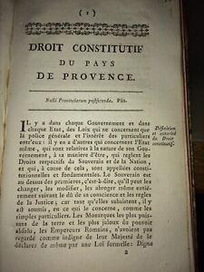 PROVENCE.DROIT CONSTITUTIF DU PAYS DE PROVENCE.XVIIIéme.