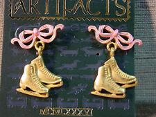 """""""JJ"""" Jonette Jewelry Gold Pewter 'Ice Skates w/Pink Bow' Earrings"""