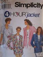 8301 UNCUT Vintage Simplicity SEWING Pattern Misses 4 HOUR Jacket OOP FF Casual