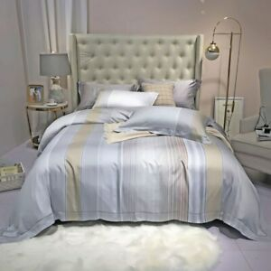 Gray Printed Tencel Bedding Set Duvet Cover Bed Sheet Bed Linen Pillowcases New