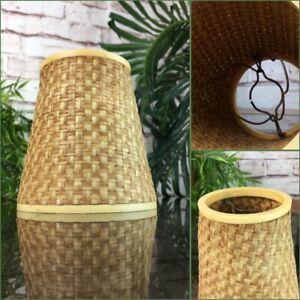Vintage Mid Century Woven Rattan Lampshade Retro Boho Tiki Wicker Light Shade