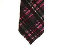 "J. Ferrar Mens Necktie Tie Pink Black Plaid Skinny 58"""