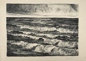 Lithography Surf Waves Sunset At Sea Baltic Sea E.Hofmann?