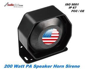 Universal 200W Compact Druckkammerlautsprecher PA Horn Sirene Federal Signal US