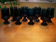 Set of 8 TIFFIN Franciscan Madeira Dark Blue Footed Ice Tea Wine Goblets Glasses