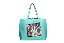 "Street Level Handbags Reversible Large Tote Bag Kitty Print + 6x8"" Coin Purse"