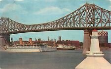 Postcard Montreal P Q Canada Jacques Cartier Bridge pm 1956