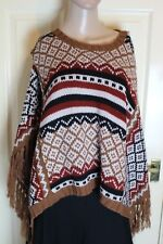 Nouveau Editions Small brown black and white poncho