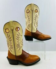 Ladies Brown/ Cream Leather Round Toe Western Cowgirl Boots Size: 6 M