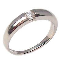 Anello fedina solitario in oro bianco 18 kt.  con diamante fede ferma anello