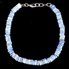 Woman 75.00 Cts Natural Blue Lace Agate Round Beads Single Strand Bracelet