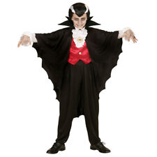 KINDER VAMPIRUMHANG Schwarzer Dracula Vampir Cape Umhang Jungen Kostüm Fest 3582