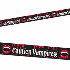 20Ft. VAMPIRE BLOOD BITE CAUTION TAPE HALLOWEEN FANCY DRESS PARTY DECORATIONS