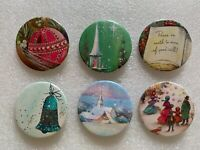 Set Of 6 Christmas Button Pins With Various Holiday Scenes