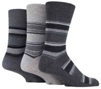 3 Pairs Mens Charcoal Grey Striped Everyday Cotton Gentle Grip Socks, Size 6-11