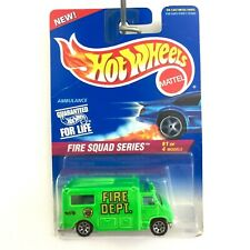 Hot Wheels Fire Squad Series Ambulance Vehicle Fluorescent Green Diecast 1/64 #1