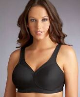 GLAMORISE MEDIUM IMPACT WIRE-FREE SPORTS BRA, BLACK,36G, NWOT