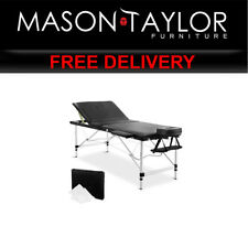 Mason Taylor 3 Fold Portable Aluminium Massage Table - Black MT-ALUM-GA301-BK-75