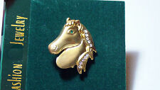 Gold Tone Horse Head Fashion Jewelry Brooch Pin with Crystal Accents NEW