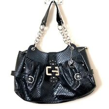 GUESS Extra Large Faux Reptile Patent Leather Handbag Huge Bag Silver Hardware