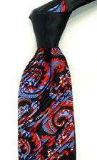 $300 ITALO FERRETTI Pleated Satin Black w/ Red & Blue Paisley Silk Neck Tie NWT