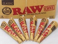 RAW Classic Pre-Rolled Cones 1 1/4 Rolling Papers Cones (6 PACKS / 36 CONES)