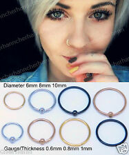 Septum Clicker Nose Ring Hoop Ear Helix Cartilage Tragus Small Thin Piercing