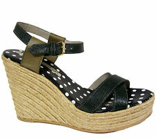 Marc by Marc Jacobs Quero Espadrille Wedges sz 9.5/39.5 Green Printed Lizard NEW
